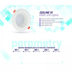 CEILINE III LED DOWNLIGHT 230V 20W 190mm NW Spectrum